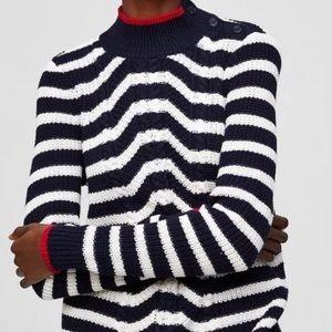 LOFT Blue White Chevron Striped Cable sweater L